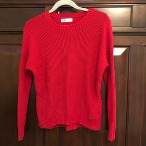 Hollister red ribbed knit crew neck sweater, small